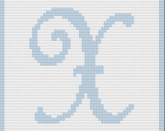 Letter X Baby Afghan, C2C Crochet Pattern, Written Row by Row, Color Counts, Instant Download, C2C Graph, C2C Pattern, Graphgan Pattern