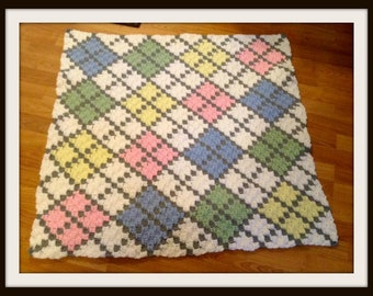 Argyle Baby Afghan Crochet Pattern, 6 Colors, C2C Crochet