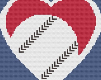Baseball Heart Afghan C2C Crochet Pattern, Written Row by Row Counts, C2C Graphs, Corner to Corner Crochet Pattern, Graphgan, Baseball C2C