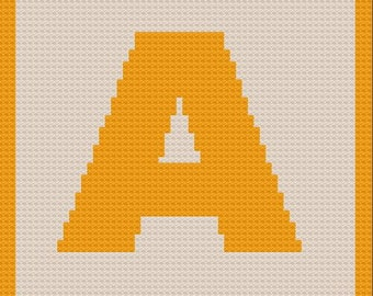 Letter A Small Afghan C2C Crochet Pattern, Written Row by Row Counts, C2C Graphs, Corner to Corner Crochet Pattern, Graphgan, Letter A C2C