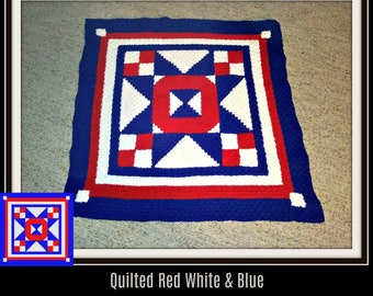 Quilted Red White and Blue Afghan, C2C Crochet Pattern, Written Row Counts, C2C Graphs, Corner to Corner, Crochet Pattern, C2C Graph