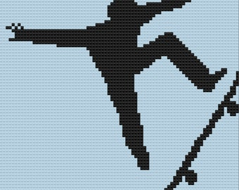 Skateboarder Silhouette Afghan, C2C Crochet Pattern, Written Row by Row, Color Counts, Instant Download, C2C Graph, C2C Pattern
