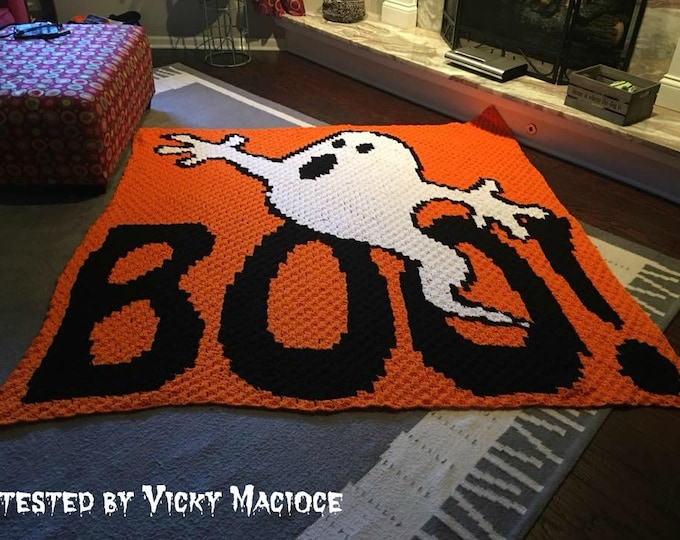 Featured listing image: BOO Halloween Blanket, C2C Crochet Pattern, Written Row Counts, C2C Graphs, Corner to Corner, Crochet Pattern, C2C Graph