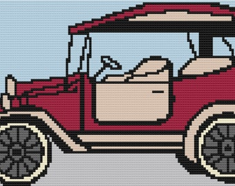 Antique Car Afghan, Mini C2C Crochet Pattern, Written Row by Row, Color Counts, Instant Download, C2C Graph, C2C Pattern, Graphgan