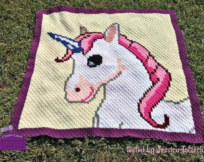 Featured listing image: Unicorn Blanket, C2C Crochet Pattern, Written Row Counts, C2C Graphs, Corner to Corner, Crochet Pattern, C2C Graph