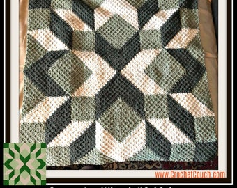 Carpenter Wheel Afghan, in greens, C2C Crochet Pattern, Written Row Counts, C2C Graphs, Corner to Corner, Crochet Pattern, C2C Graph