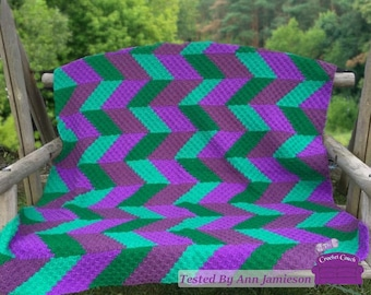 Chevron Shaded Afghan, C2C Crochet Pattern, Written Row by Row, Color Counts, Instant Download, C2C Graph, C2C Pattern, Graphgan Pattern