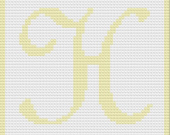 Letter H Baby Afghan, C2C Crochet Pattern, Written Row by Row, Color Counts, Instant Download, C2C Graph, C2C Pattern, Graphgan Pattern