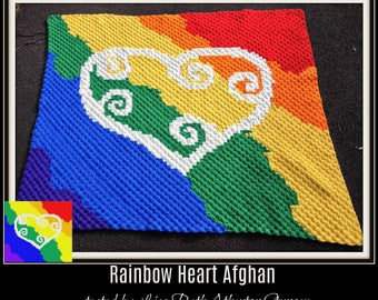 Rainbow Heart Afghan, C2C Crochet Graph, and Written Word Chart, Heart Graph, Heart Corner to Corner