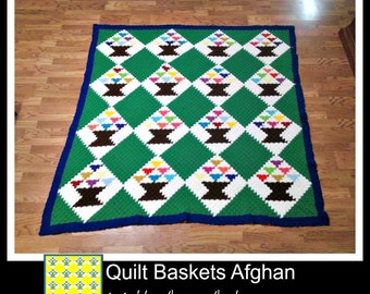 Quilt Baskets Afghan, C2C Crochet Pattern, Written Row Counts, C2C Graphs, Corner to Corner, Crochet Pattern, C2C Graph