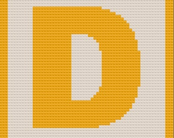 Letter D Small Block Afghan, C2C Crochet Pattern, Written Row by Row, Color Counts, Instant Download, C2C Graph, C2C Pattern, C2C Crochet