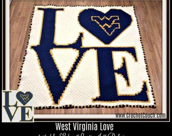 West Virginia Love Afghan, C2C Graph, Crochet Pattern