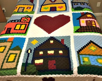 Home is Where the Heart Is Afghan, C2C Crochet Pattern, Written Row by Row, Color Counts, Instant Download, C2C Graph, C2C Pattern, Graphgan