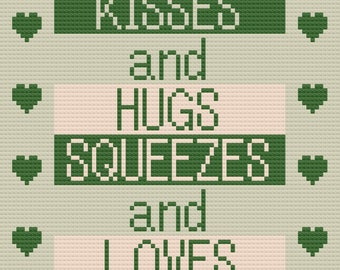 Kisses and Hugs Afghan, C2C Crochet Pattern, Written Row Counts, C2C Graphs, Corner to Corner, Crochet Pattern, C2C Graph INSTANT DOWNLOAD