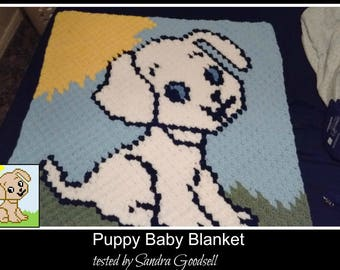 C2C Graph, Puppy Baby Blanket C2C Graph & Written Word Chart