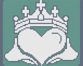 Claddagh Afghan, C2C Crochet Pattern, Written Row by Row, Color Counts, Instant Download, C2C Graph, C2C Pattern