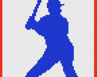 Baseball Player Afghan, C2C Crochet Pattern, Written Row by Row, Color Counts, Instant Download, C2C Graph, C2C Pattern, Graphgan Pattern