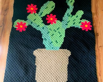 Cactus Afghan, C2C Crochet Pattern, Written Row by Row, Color Counts, Instant Download, C2C Graph, C2C Pattern, Graphgan Pattern