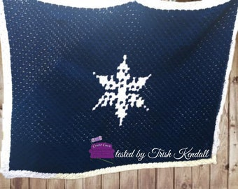 Snowflake Simple, Small Afghan, C2C Crochet Pattern, Written Row by Row, Color Counts, Instant Download, C2C Graph, C2C Pattern, Graphgan