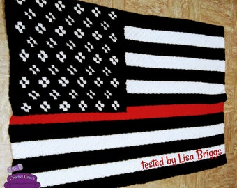 Red Line Flag Afghan, C2C Crochet Pattern, Written Row by Row, Color Counts, Instant Download, C2C Graph, C2C Pattern, Graphgan Pattern