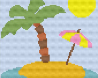 Stranded in Paradise Afghan, C2C Crochet Pattern, Written Row by Row, Color Counts, Instant Download, C2C Graph, C2C Pattern, C2C Crochet