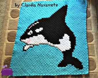 Orca Whale Baby Afghan  C2C Crochet Pattern, Written Row Counts, C2C Graphs, Corner to Corner Crochet Pattern, Graphgan, Whale C2C Graph