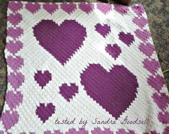 Heart Border Afghan, C2C Crochet Pattern, Written Row Counts, C2C Graphs, Corner to Corner Crochet Pattern, C2C Graph