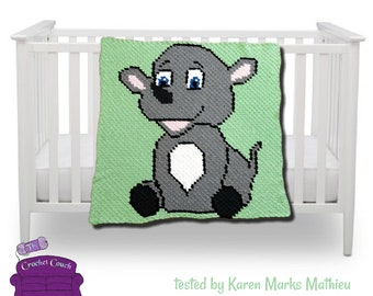 Rhino Kids Afghan, C2C Crochet Pattern, Written Row by Row, Color Counts, Instant Download, C2C Graph, C2C Pattern, Graphgan Pattern