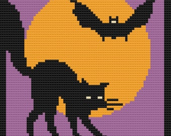 Full Moon with a Cat and a Bat Afghan, C2C Crochet Pattern, Written Row by Row, Color Counts, Instant Download, C2C Graph, C2C Pattern