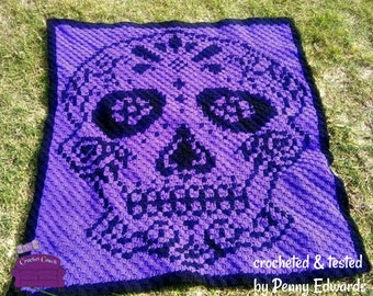 Sugar Skull Afghan, 2 Colors, C2C Crochet Pattern, Written Row by Row, Color Counts, Instant Download, C2C Graph, C2C Pattern, C2C Graphgan