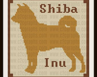 Shiba Inu Silhouette Afghan, C2C Crochet Pattern, Written Row Counts, C2C Graphs, Corner to Corner, Crochet Pattern, C2C Graph