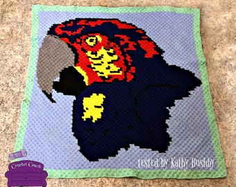 Macaw Afghan, C2C Crochet Pattern, Written Row by Row, Color Counts, Instant Download, C2C Graph, C2C Pattern, Graphgan Pattern