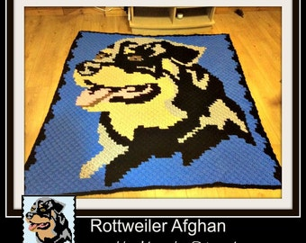 Rottweiler Afghan, C2C Crochet Pattern, Written Row Counts, C2C Graphs, Corner to Corner, Crochet Pattern, C2C Graph