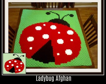 Ladybug Baby Afghan, C2C Crochet Pattern, Written Row Counts, C2C Graphs, Corner to Corner, Crochet Pattern, C2C Graph