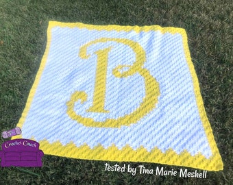 Letter B Swirly Afghan, C2C Crochet Pattern, Written Row by Row, Color Counts, Instant Download, C2C Graph, C2C Pattern, Graphgan Pattern