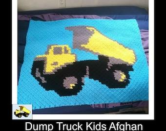 Dumptruck Kids Blanket, C2C Crochet Pattern, Written Row Counts, C2C Graphs, Corner to Corner Crochet Pattern, C2C Graph