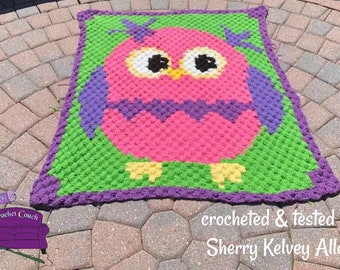 Owl Kids Afghan, C2C Crochet Pattern, Written Row Counts, C2C Graphs, Corner to Corner, Crochet Pattern, C2C Graph, Instant Download