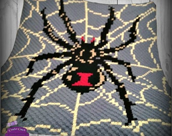 Black Widow Afghan, C2C Crochet Pattern, Written Row by Row, Color Counts, Instant Download, C2C Graph, C2C Pattern, Graphgan Pattern