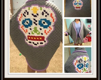 Sugar Skull Shrug, Sizes XL - 5X, C2C Crochet Pattern, Written Row Counts, C2C Graphs, Corner to Corner, Crochet Pattern, C2C Graph