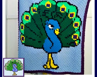 Peacock Baby Afghan, C2C Crochet Pattern, Written Row Counts, C2C Graphs, Corner to Corner, Crochet Pattern, C2C Graph