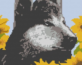 Wolf and Sunflowers Afghan, C2C Crochet Pattern, Written Row by Row, Color Counts, Instant Download, C2C Graph, C2C Pattern, C2C Crochet