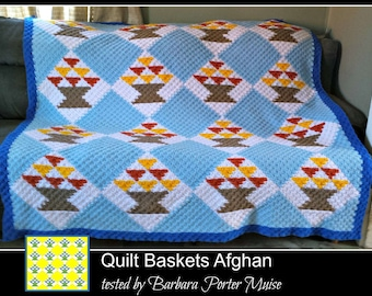 Quilt Baskets Afghan Queen Size, C2C Crochet Pattern, Written Row Counts, C2C Graphs, Corner to Corner, Crochet Pattern, C2C Graph