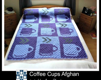 Coffee Cups Afghan, C2C Crochet Pattern, Written Row Counts, C2C Graphs, Corner to Corner, Crochet Pattern, C2C Graph