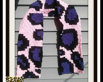 Cheetah Print Scarf, C2C Crochet Pattern, Written Row Counts, C2C Graphs, Corner to Corner, Crochet Pattern, C2C Graph