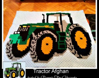 C2C Graph, Tractor Afghan, C2C Graph, Written Word Chart, Tractor graph, c2c tractor