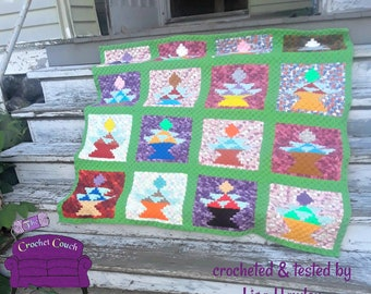 Kathy Stash Buster Quilt Afghan, C2C Crochet Pattern, Written Row by Row, Color Counts, Instant Download, C2C Graph, C2C Pattern, Graphgan