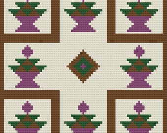 Trina Quilt Blanket, C2C Crochet Pattern, Written Row Counts, C2C Graphs, Corner to Corner, Crochet Pattern, C2C Graph