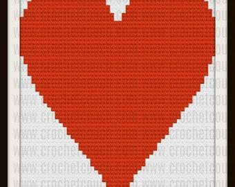 Set of 2 Small Heart Afghan, C2C Crochet Pattern, Written Row Counts, C2C Graphs, Corner to Corner, Crochet Pattern, C2C Graph