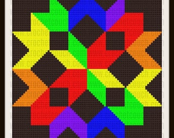Rainbow Quilt, C2C Graph, Written Row by Row Word Chart