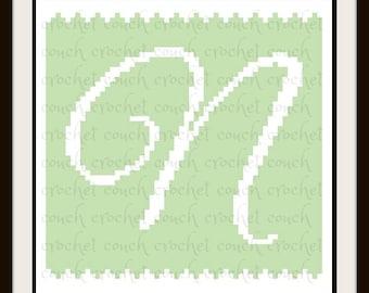 Letter N Baby Afghan, C2C Crochet Pattern, Written Row Counts, C2C Graphs, Corner to Corner, Crochet Pattern, C2C Graph